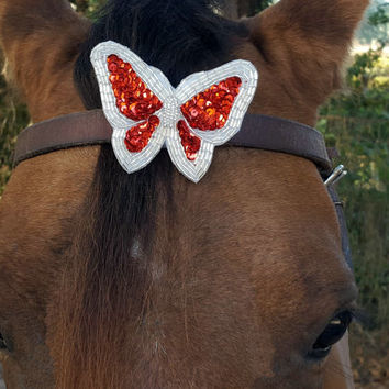 Red and Silver Sequinned Butterfly Equine Browband / Forelock Ornament - fancy horse jewelry for Valentine's Day Gift