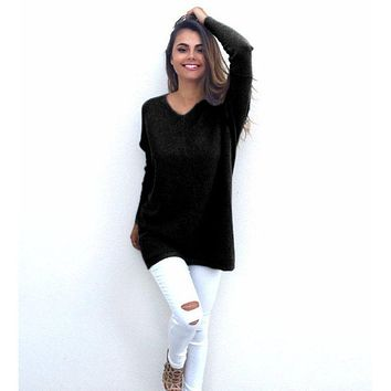 Women Knitted Sweater Christmas Gray Thin Pullover Tops Slim V Neck Stretch Fit Long Sleeve Jumper Casual Pull Femme