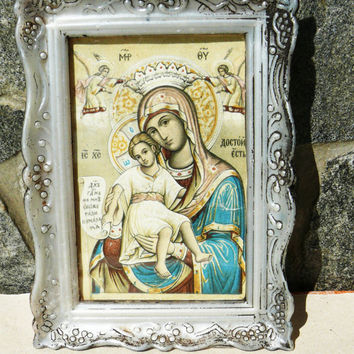 Vintage Orthodox icon of Mary Mother of God with a plastic frame