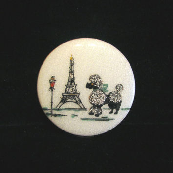 Vintage Makeup Compact & Matching Coin Holder Guilloche Paris Eiffel Tower Poodle Dog Mirror Compact Makeup Compact UNUSED CONDITION