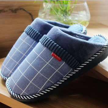 2016 New plaid cotton slippers winter indoor warm loafer comfortable home slippers men and women warm flip flop Free shiopping
