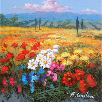 N*3 Italian landscape original oil painting of Anna Cantini enjoy with colors & flowers Italy Italia - Dipinto paesaggio Italiano