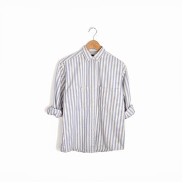 Vintage Striped Chambray Work Shirt in Blue & White - women's small petite