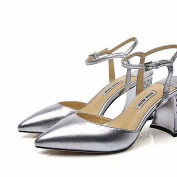 Prada Miu Miu Laminated Leather Pumps - Best Deal Online