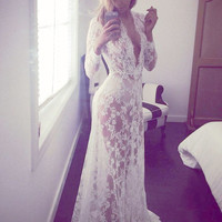 Long Lace Dress Sexy Long Sleeve White Lace Dress Deep V Neck Floor Length Dress White Dresses Lace for Honeymoon Robe Dentelle