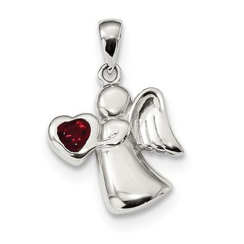 925 Sterling Silver Angel with Red Cubic Zirconia Heart Shaped Pendant