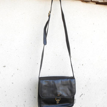 Vintage THE BRIDGE 037713 Black Leather Purse , Crossbody , Shoulder Bag // Small // Made in Italy