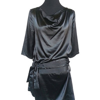 Satiny 80's Style LBD With Cowl Neck, 3/4 Sleeves, And Two Waist Ties Women's Small to Medium