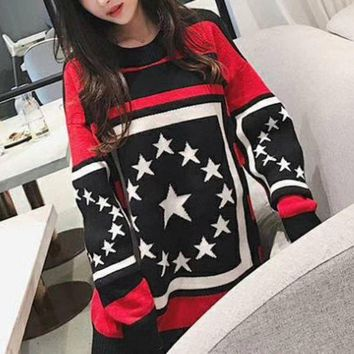 NOV9O2 Givenchy Fashion Stars Knit Top Sweater Pullover