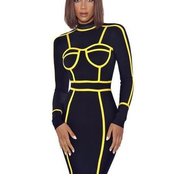 Yellow Symmetrical Outline Detail High Neck Black Bandage Dress