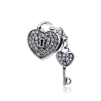 Authentic 925 Sterling Silver Bead heart with key Lock of love clear CZ Fits European Original Charm Bracelet Valentine Day gift