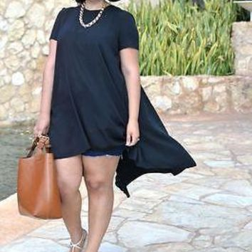 Women Summer Casual Black Loose Short Sleeve Chiffon Shirt Top Plus Size