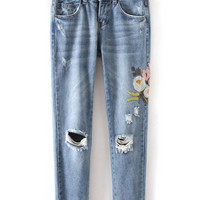 Light Blue Floral Embroidered Distressing Ripped Jeans