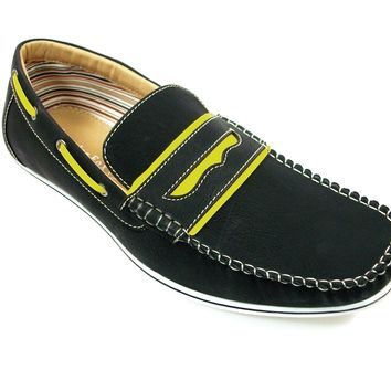 Mens Polar Fox Two Tone Penny Casual Loafers Shoes 30222 Black-226