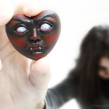 Love is cruel! OOAK handmade air dry clay heart pendant, one of a kind dark portrait sculpture pendant