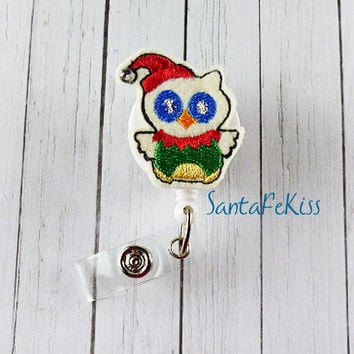Christmas Owl Holiday Badge Holder with Retractable Badge Reel hand made by SantaFeKiss
