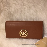 NEW! Michael Kors $148 Fulton Flap Pebbled Leather Carryall Wallet-Luggage