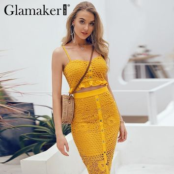 Glamaker Split hollow out sexy maxi dress Women ruffle floral lace blue dress Elegant summer beach bodycon long party club dress