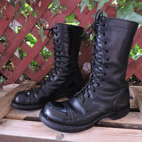 Vintage combat boots / size 7 / womens Corcoran 1515 original jump boots / black leather cap toe military boots / lace up combat boots