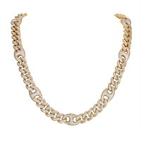 12MM Designer Miami Cuban Chain Gold Tone Bling Necklace