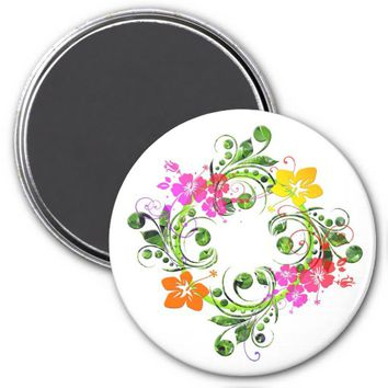 Hibiscus flower wreath magnet
