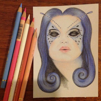 Original drawing - Blue Butterfly Girl - Coloured pencil drawing