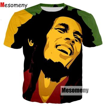 Mesomeny Newest Famous Singer Rap Hip hop T-shirts Reggae originator Bob Marley 3d print Men Women casual O-Neck t shirt R3271