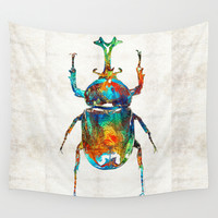 Colorful Beetle Art - Scarab Beauty - By Sharon Cummings Wall Tapestry by Sharon Cummings