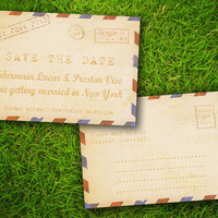 """Vintage Rustic Retro Airmail Customizable 4"""" x 6"""" Save The Date Card - 100 Pieces PRINTED Double Sided Luxury Premium Postcard"""