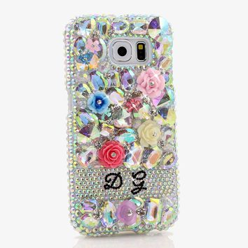 AB Stones and Florals Personalized Name & Initials Design (style PN_1089)