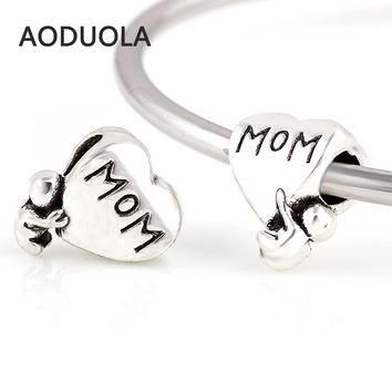 Charms 10 Pcs a Lot MOM Letter with Baby Silver Heart Fits Pandora Bracelet Beads