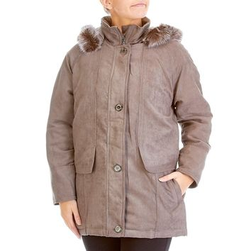 Techlite Insulated Faux Suede Coat with Removable Faux Fur Hood 110203457