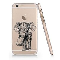 Elephant Pattern Balck Iphone 6 case, Iphone 6 Case Slim White Cover Skin (4.7'' Screen) (LA006)