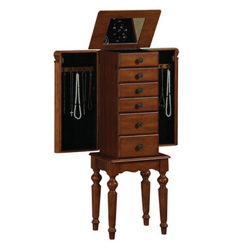 Powell  987-317 Lightly Distressed Deep Cherry Jewelry Armoire