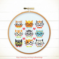 Modern Funny Cute Cross stitch pattern PDF - I Love Catsss  - Xstitch Instant download - Happy cat , Cheerful kitten, Cute Woodland Animal