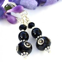 Bone Evil Eye Earrings with Black Onyx and Sterling Silver, Unique Handmade Jewelry for Women