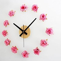 Fresh Rural Style DIY Romantic Rose Quartz Wall Stickers Funny Flower Clock for Room Decoration Unique Gift Free Shipping (pink):Amazon:Home & Kitchen