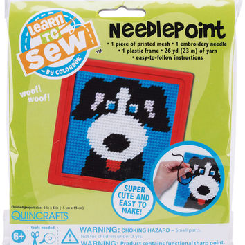 Dog Learn To Sew Needlepoint Kit - Red Frame