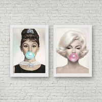 Audrey Hepburn Marilyn Monroe Bubblegum Print Home Decor Fashion Wall Art set