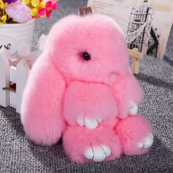 1 Pc Bunny Rex Rabbit Fur Handbag Bag Keychain Pom Doll Ball Key Chain Ring Pendant