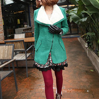 Women's cashmere winter coat autumn outerwear fur collar wool jacket green wool coat personality jacket BJ24,s,m,l,xl