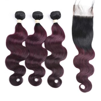 Ombre Brazilian Remy Human Hair Body Wave 3 Bundle With Lace Closure 1B/99J