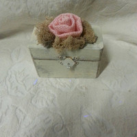 Shabby Chic Burlap Rose Chippy Ivory and Pink Wedding Ring Pillow Alternative Ring Bearer Box
