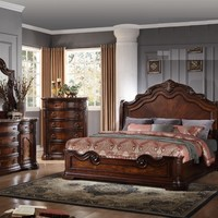 Best Master B1003 4 pc renaissance collection walnut finish wood queen bed set with ornate carvings