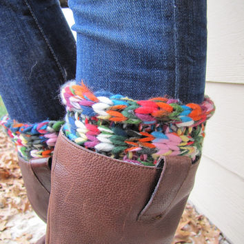 Boot Sock with Cuff-Full boot Sock sock Included- Topper-Boot Sock- Multicolor Knit-Full sock included