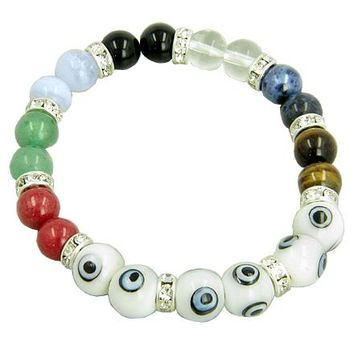Chakra Gemstones and Evil Eye Swarovski Crystals White Eyes Bracelet