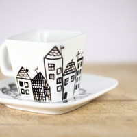 Hand Painted Porcelain Espresso Cup and Saucer by SylwiaGlassArt