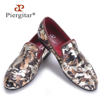 New men flats shoes with camouflage printing Luxurious British style men smoking slippers big size male loafers