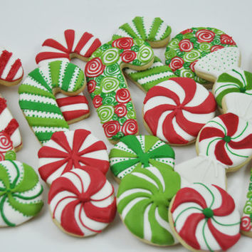 Candy Canes Christmas candy Cookies - one Dozen - Cute decorated iced holiday sugar cookies - willy wonka - sweets -peppermint swirl