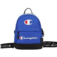 Champion 2019 new men's and women's casual sports canvas backpack Blue